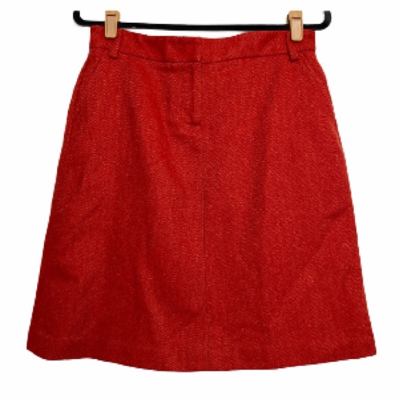 J. Crew Dark Orange 100% Wool Acetate Lined Skirt